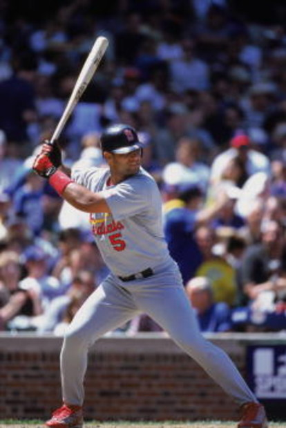 30 Jun 2001:  Infielder Albert Pujols #5 of the St. Louis Cardinals waits for the pitch during the National League game against the San Francisco Giants at Pacific Bell Park in San Francisco, California.  The Giants defeated the Cardinals 5-2.  Mandatory