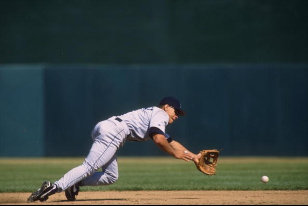 26 Sep 1996:  Infielder Alex Rodriguez of the Seattle Mariners dives for a ground ball during the Mariners 7-5 loss to the Oakland A's at Oakland Coliseum in Oalkand, California. Mandatory Credit: Otto Greule Jr.  /Allsport