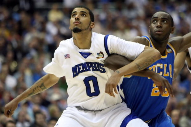 SAN ANTONIO - APRIL 05:  Shawn Taggart #0 of the Memphis Tigers boxes out Luc Richard Mbah a Moute #23 of the UCLA Bruins during the National Semifinal game of the NCAA Men's Final Four at the Alamodome on April 5, 2008 in San Antonio, Texas.  (Photo by J