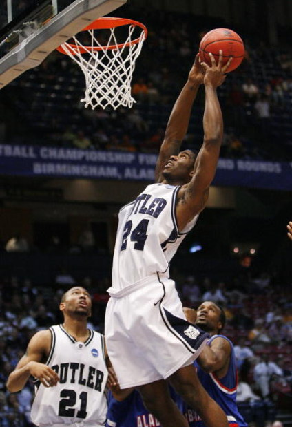BIRMINGHAM, AL - MARCH 21: Avery Jukes #24 of the Butler Bulldogs dunks the ball against the South Alabama Jaguars during the first round of the East Regional as part of the 2008 NCAA Men's Basketball Tournament at the Birmingham-Jefferson Civic Center on
