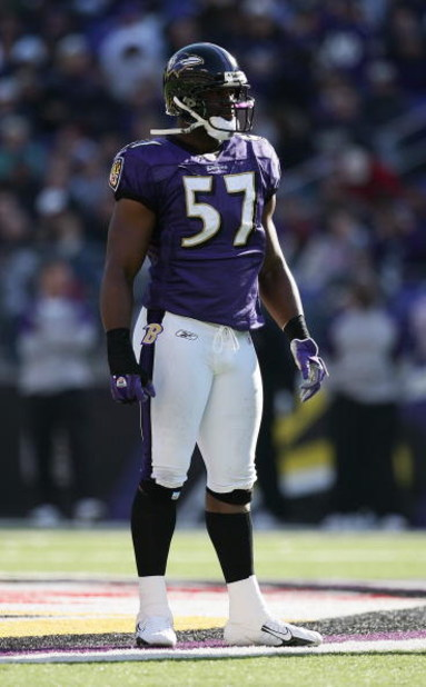 BALTIMORE - NOVEMBER 5:  Bart Scott #57 of the Baltimore Ravens looks on during the game against the Cincinnati Bengals at M&T Bank Stadium on November 5, 2006 in Baltimore, Maryland.  The Ravens defeated the Bengals 26-20. (Photo by Harry How/Getty Image
