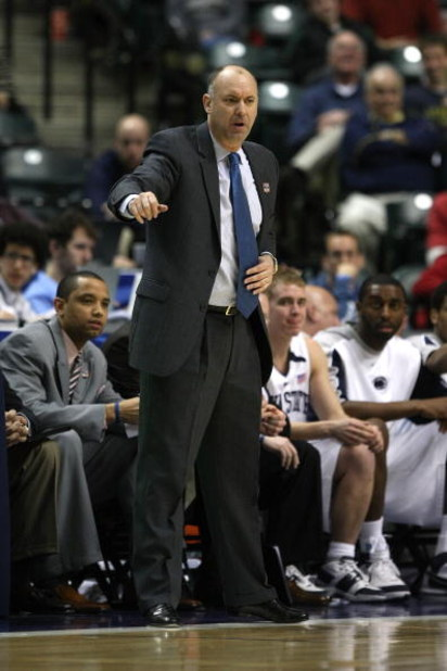 INDIANAPOLIS - MARCH 13:  Head coach Ed DeChellis of the Penn State Nittany Lions coaches against the Illinois Fighting Illini during the Big Ten Men's Basketball Tournament at Conseco Fieldhouse on March 13, 2008 in Indianapolis, Indiana.  (Photo by Jona