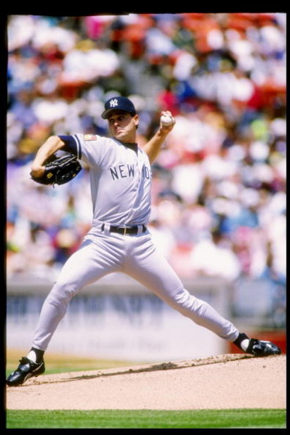 30 Apr 1994:  Pitcher Jimmy Key of the New York Yankees in action during a game against the Oakland Athletics at Oakland Alameda County Coliseum in Oakland, California. Mandatory Credit: Otto Greule  /Allsport