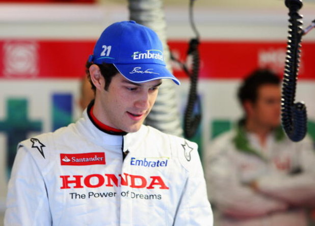 BARCELONA, SPAIN - NOVEMBER 19:  Bruno Senna of Brazil prepares to drive during day three of Formula One Testing at the Circuit de Catalunya on November 19, 2008 in Barcelona, Spain.  (Photo by Mark Thompson/Getty Images)