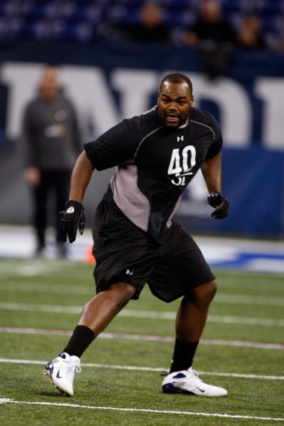 INDIANAPOLIS, IN - FEBRUARY 21:  Offensive lineman Michael Oher of Mississippi participates in practice drills during the NFL Scouting Combine presented by Under Armour at Lucas Oil Stadium on February 21, 2009 in Indianapolis, Indiana. (Photo by Scott Bo