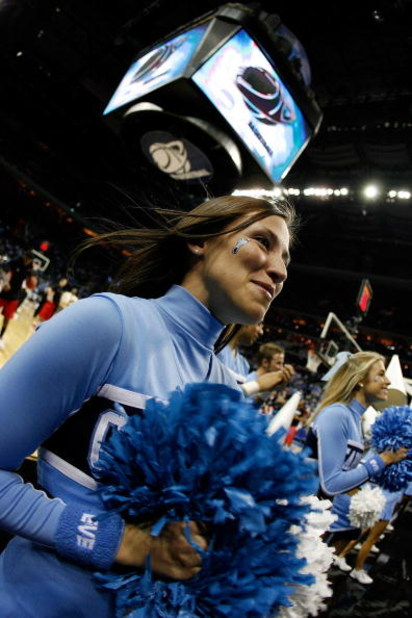 CHARLOTTE, NC - MARCH 29:  North Carolina Tar Heels cheerleader performs during the game against the against the Louisville Cardinals during the 2008 NCAA Men's East Regional Final at Bobcats Arena on March 29, 2008 in Charlotte, North Carolina.  (Photo b