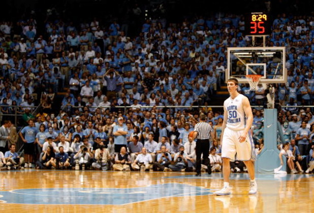 CHAPEL HILL, NC - MARCH 08:  Tyler Hansbrough #50 of the North Carolina Tar Heels walks back into the game against the Duke Blue Devils at the Dean E. Smith Center on March 8, 2009 in Chapel Hill, North Carolina.  (Photo by Streeter Lecka/Getty Images)
