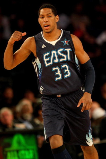 PHOENIX - FEBRUARY 15:  Danny Granger #33 of the Eastern Conference celebrates a play during the 58th NBA All-Star Game, part of 2009 NBA All-Star Weekend at US Airways Center on February 15, 2009 in Phoenix, Arizona.  NOTE TO USER: User expressly acknowl
