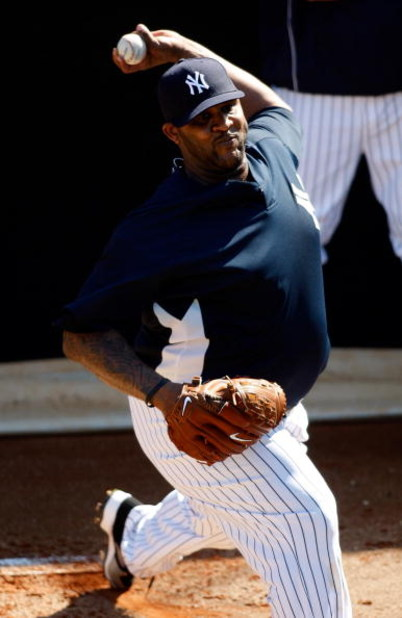 TAMPA, FL - FEBRUARY 14:  Pitcher CC Sabathia #52 of the New York Yankees during a Spring Training workout at the George M. Steinbrenner Field on February 14, 2009 in Tampa, Florida.  (Photo by J. Meric/Getty Images)