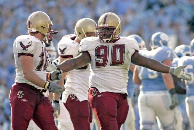 CHAPEL HILL, NC - NOVEMBER 5:  B.J. Raji #90 and Brian Toal of the Boston College Eagles talk after giving up a field goal to the North Carolina Tar Heels during an Atlantic Coast Conference game on November 5, 2005 at Kenan Stadium in Chapel Hill, North