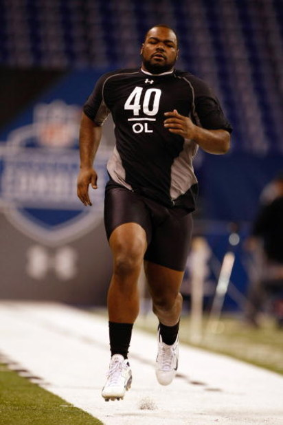 INDIANAPOLIS, IN - FEBRUARY 21:  Offensive lineman Michael Oher of Mississippi runs the 40 yard dash as he participates in drills during the NFL Scouting Combine presented by Under Armour at Lucas Oil Stadium on February 21, 2009 in Indianapolis, Indiana.