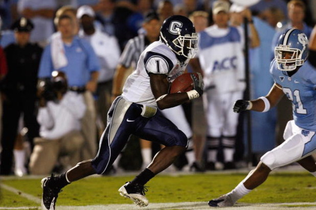 CHAPEL HILL, NC - OCTOBER 4:  Darius Butler #1 of the Connecticut Huskies runs with the ball during the game against the North Carolina Tar Heels at Kenan Stadium on October 4, 2008 in Chapel Hill, North Carolina.  (Photo by Kevin C. Cox/Getty Images)