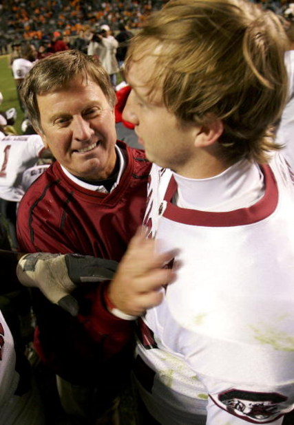 KNOXVILLE, TN - OCTOBER 29:  Head coach Steve Spurrier of the South Carolina Gamecocks celebrates a 16-15 victory over the Tennessee Volunteers with his quarterback Blake Mitchell during their game on October 29, 2005 at Neyland Stadium in Knoxville, Tenn
