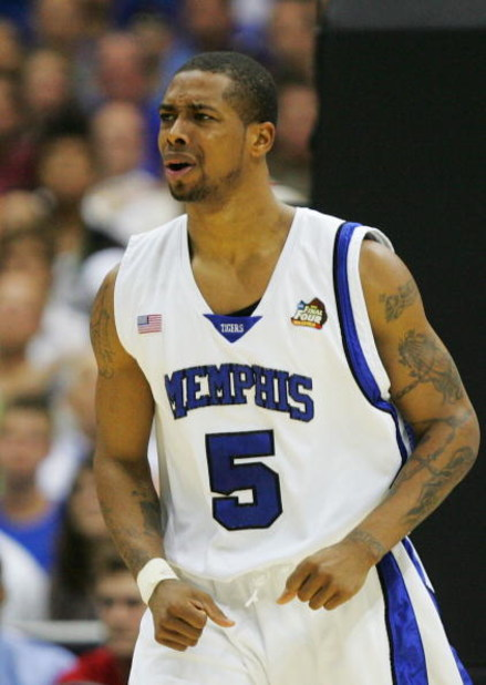 SAN ANTONIO - APRIL 07:  Antonio Anderson #5 of the Memphis Tigers reacts after a play against the Kansas Jayhawks in the second half during the 2008 NCAA Men's National Championship game at the Alamodome on April 7, 2008 in San Antonio, Texas.  (Photo by