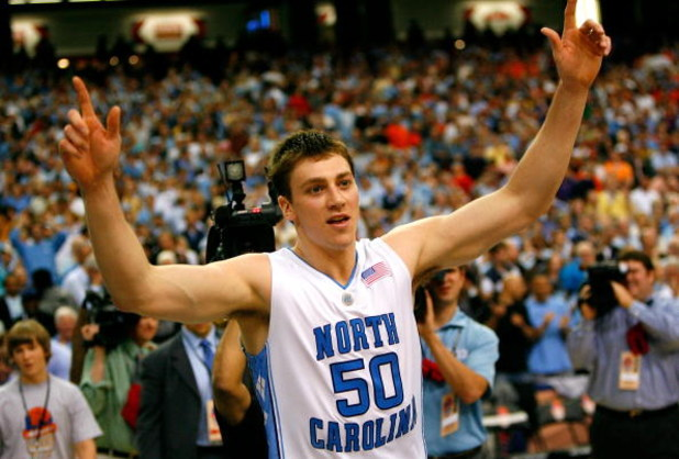 ATLANTA - MARCH 13:  Tyler Hansbrough #50 of the North Carolina Tar Heels reacts after defeating the Virginia Tech Hokies 79-76 during day two of the 2009 ACC Men's Basketball Tournament on March 13, 2009 at the Georgia Dome in Atlanta, Georgia.  (Photo b