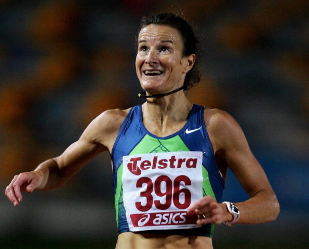 BRISBANE, AUSTRALIA - MARCH 09:  Sonia O'Sullivan of AUS finishes second in the Womens 3000 Metres  during  day one of the Australian Athletics Championships and selection trials at Queensland Sport and Athletic Centre on March 9, 2007 in Brisbane, Austra