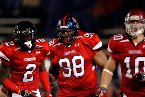 MOBILE, AL - JANUARY 24: Peria Jerry #98 of the South Team celebrates after scoring a touchdown on a fumble recovery against the North Team during the Under Armour Senior Bowl on January 24, 2009 at Ladd-Peebles Stadium in Mobile, Alabama. (Photo by Chris
