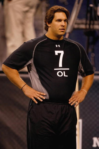 INDIANAPOLIS, IN - FEBRUARY 21:  Offensive lineman Eben Britton of Arizona stands during the NFL Scouting Combine presented by Under Armour at Lucas Oil Stadium on February 21, 2009 in Indianapolis, Indiana. (Photo by Scott Boehm/Getty Images)