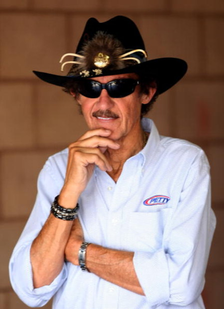 FONTANA, CA - AUGUST 29:  Richard Petty, past NASCAR champion and team owner of Petty Enterprises, stands in the garage during practice for the NASCAR Sprint Cup Series Pepsi 500 at Auto Club Speedway on August 29, 2008 in Fontana, California.  (Photo by
