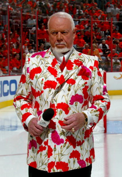 PHILADELPHIA - MAY 13:  Hockey commentator Don Cherry stands on the ice before the start of game three of the Eastern Conference Finals of the 2008 NHL Stanley Cup Playoffs between the Pittsburgh Penguins and the Philadelphia Flyers at Wachovia Center on