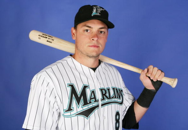 JUPITER, FL - FEBRUARY 22:  Dallas McPherson #8 of the Florida Marlins poses during photo day at Roger Dean Stadium February 22, 2009 in Jupiter, Florida.  (Photo by Doug Benc/Getty Images)