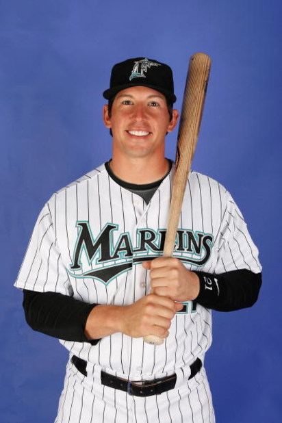 JUPITER, FL - FEBRUARY 22:  John Baker #21 of the Florida Marlins poses during photo day at Roger Dean Stadium on February 22, 2009 in Jupiter, Florida.  (Photo by Doug Benc/Getty Images)