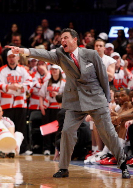 NEW YORK - MARCH 13: Head coach Rick Pitino of the Louisville Cardinals reacts from the sidelines during a game against the Villanova Wildcats during the semifinal round of the Big East Tournament at Madison Square Garden on March 13, 2009 in New York Cit