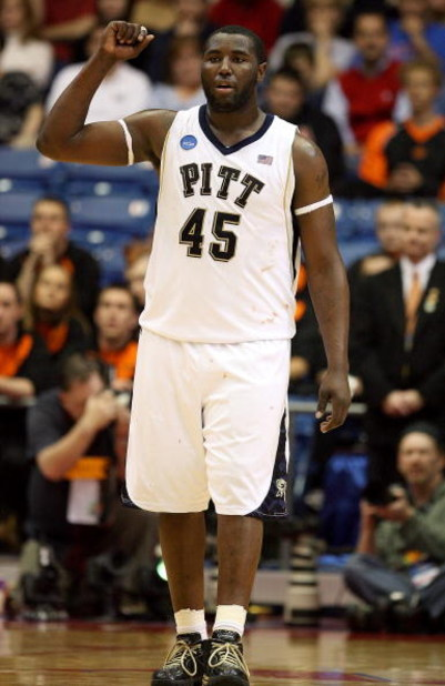 DAYTON, OH - MARCH 22:  DeJuan Blair #45 of the Pittsburgh Panthers reacts between plays against the Oklahoma State Cowboys during the second round of the NCAA Division I Men's Basketball Tournament at the University of Dayton Arena on March 22, 2009 in D