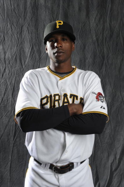 BRADENTON, FL - FEBRUARY 22: Nyjer Morgan #3 of the Pittsburgh Pirates poses during photo day at the Pirates spring training complex on February 22, 2009 in Bradenton, Florida. (Photo by Rob Tringali/Getty Images)