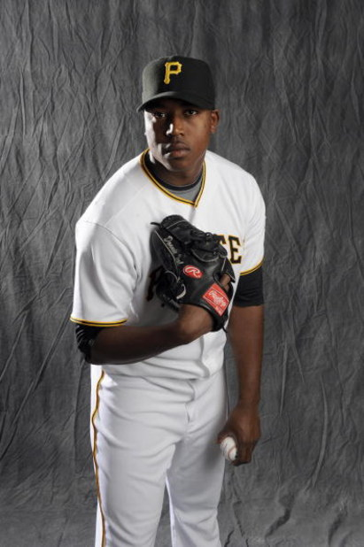 BRADENTON, FL - FEBRUARY 22: Donnie Veal #56 of the Pittsburgh Pirates poses during photo day at the Pirates spring training complex on February 22, 2009 in Bradenton, Florida. (Photo by Rob Tringali/Getty Images)