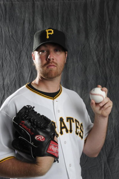 BRADENTON, FL - FEBRUARY 22: Phil Dumatrait #32 of the Pittsburgh Pirates poses during photo day at the Pirates spring training complex on February 22, 2009 in Bradenton, Florida. (Photo by Rob Tringali/Getty Images)