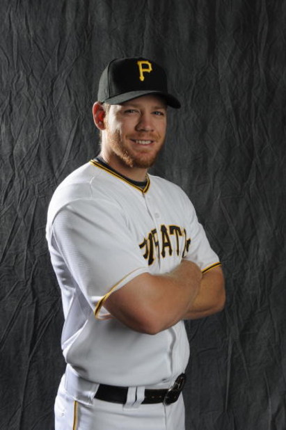 BRADENTON, FL - FEBRUARY 22: Brandon Moss #44 of the Pittsburgh Pirates poses during photo day at the Pirates spring training complex on February 22, 2009 in Bradenton, Florida. (Photo by Rob Tringali/Getty Images)