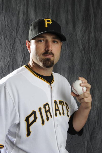 BRADENTON, FL - FEBRUARY 22: John Grabow #34 of the Pittsburgh Pirates poses during photo day at the Pirates spring training complex on February 22, 2009 in Bradenton, Florida. (Photo by Rob Tringali/Getty Images)