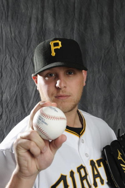 BRADENTON, FL - FEBRUARY 22: Evan Meek #47 of the Pittsburgh Pirates poses during photo day at the Pirates spring training complex on February 22, 2009 in Bradenton, Florida. (Photo by Rob Tringali/Getty Images)