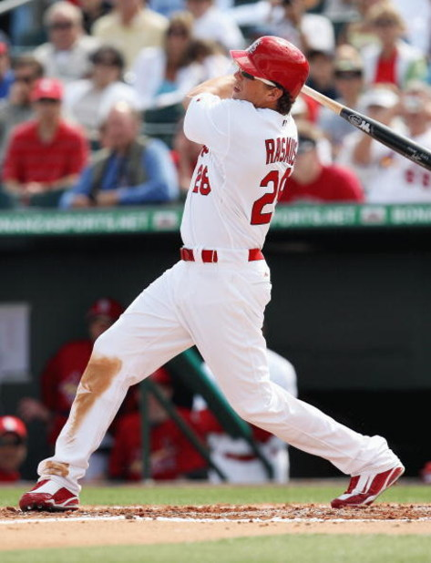 JUPITER, FL - FEBRUARY 25:  Colby Rasmus #28 of the St. Louis Cardinals bats against the Florida Marlins during a spring training game at Roger Dean Stadium on February 25, 2009 in Jupiter, Florida. The Marlins and the Mets played to a 5-5 tie in 10 innin