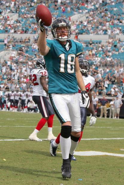 JACKSONVILLE, FL - SEPTEMBER 28:  Matt Jones #18 of the Jacksonville Jaguars celebrates his touchdown during the game against the Houston Texans at Jacksonville Municipal Stadium on September 28, 2008 in Jacksonville, Florida.  (Photo by Sam Greenwood/Get