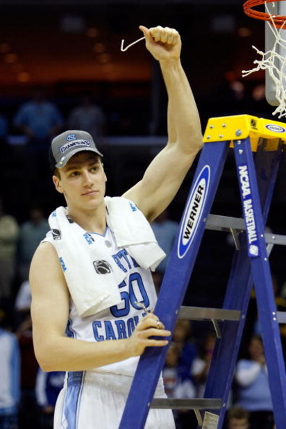 MEMPHIS, TN - MARCH 29:  Tyler Hansbrough #50 of the North Carolina Tar Heels cuts off a piece of the net after defeating the Oklahoma Sooners during the NCAA Men's Basketball Tournament South Regional Final at the FedExForum on March 29, 2009 in Memphis,