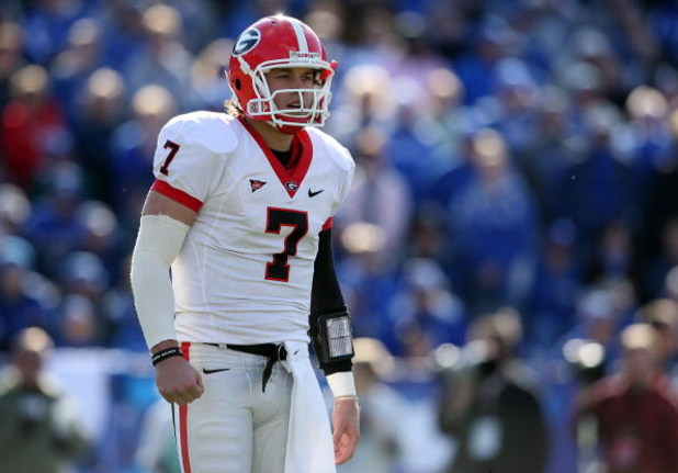 LEXINGTON, KY - NOVEMBER 08: Matthew Stafford #7 of the Georgia Bulldogs is pictured during the game against the Kentucky Wildcats at the Commonwealth Stadium on November 8, 2008 in Lexington, Kentucky. (Photo by Andy Lyons/Getty Images)
