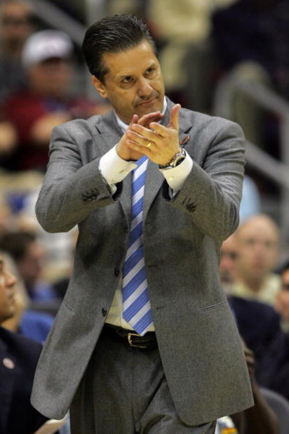 SAN ANTONIO - APRIL 05:  Head coach John Calipari of the Memphis Tigers reacts while taking on the UCLA Bruins during the National Semifinal game of the NCAA Men's Final Four at the Alamodome on April 5, 2008 in San Antonio, Texas.  (Photo by Streeter Lec