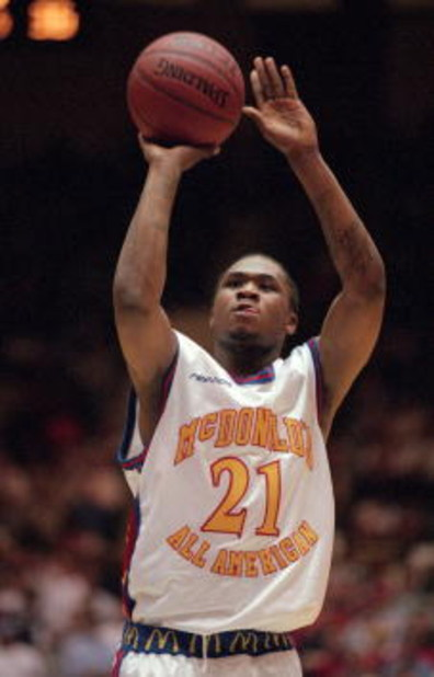 28 Mar 2001:  Dajuan Wagner #21 of the East takes a shot during the McDonalds High School All American Game against the West at the Cameron Indoor Stadium in Durham, North Carolina. The West defeated the East 131-125.Mandatory Credit: Craig Jones  /Allspo