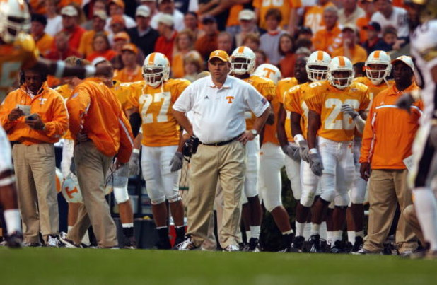 KNOXVILLE, TN - NOVEMBER 24:  Head Coach Phillip Fulmer of the Tennessee Volunteers stands on the sidelines against the Vanderbilt Commodores during the game on November 24, 2001 at Neyland Stadium in Knoxville, Tennessee. Tennesse won 38-0. (Photo by Dou
