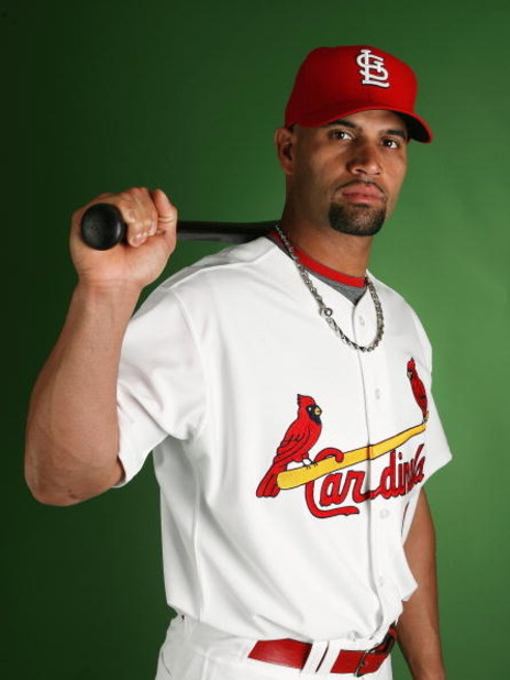 JUPITER, FL - FEBRUARY 20:  Albert Pujols #5 of the St. Louis Cardinals poses during photo day at Roger Dean Stadium on February 20, 2009 in Jupiter, Florida.  (Photo by Doug Benc/Getty Images)