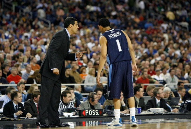 DETROIT - MARCH 28:  Head coach Jay Wright of the Villanova Wildcats talks with Scottie Reynolds against the Kansas Jayhawks during the Midwest Regional Semifinal of the 2008 NCAA Division I Men's Basketball Tournament at Ford Field on March 28, 2008 in D