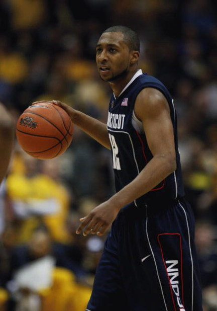 MILWAUKEE - FEBRUARY 25: A.J. Price #12 of the Connecticut Huskies brings the ball up the court against the Marquette Golden Eagles on February 25, 2009 at the Bradley Center in Milwaukee, Wisconsin. Connecticut defeated Marquette 93-82. (Photo by Jonatha