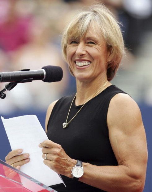 NEW YORK - SEPTEMBER 10:  Martina Navratilova smiles during her speech at a ceremony where Navratilova was inducted into the U.S. Open's Court of Champions before the start of the men's final at the U.S. Open at the USTA Billie Jean King National Tennis C