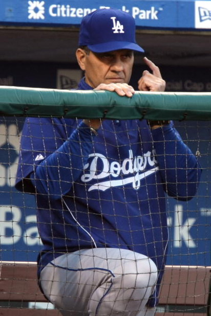 PHILADELPHIA - OCTOBER 10:  Manager Joe Torre #6 of the Los Angeles Dodgers gestures in the dugout in the bottom of the second inning against the Philadelphia Phillies in Game Two of the National League Championship Series during the 2008 MLB playoffs on