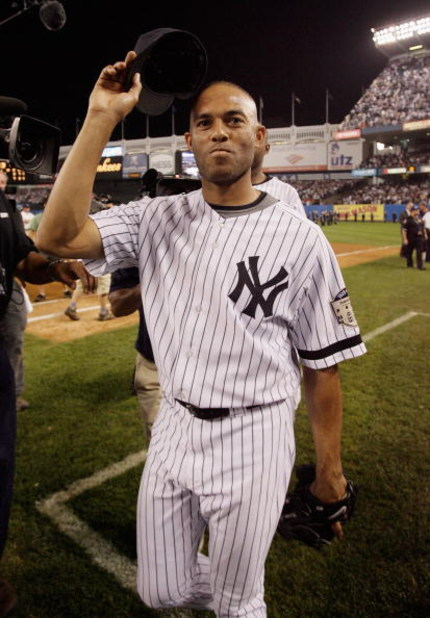 NEW YORK - SEPTEMBER 21: Mariano Rivera #42 of the New York Yankees waves to fans after the last regular season game at Yankee Stadium on September 21, 2008 in the Bronx borough of New York City. The Yankees are playing their final season in the 85 year o