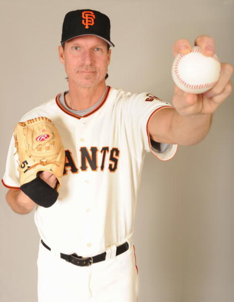 SCOTTSDALE, ARIZONA - FEBRUARY 23:  Randy Johnson of the San Francisco Giants poses during photo day at Scottsdale Stadium on February 23, 2009 in Scottsdale, Arizona. (Photo by: Harry How/Getty Images)