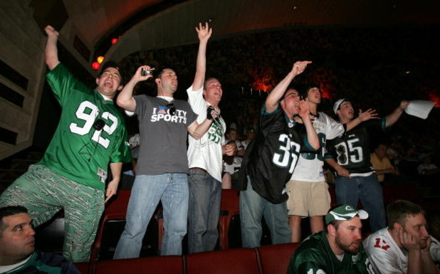 NEW YORK - APRIL 26: Fans of the Philadelphia Eagles cheer during the 2008 NFL Draft on April 26, 2008 at Radio City Music Hall in New York City.  (Photo by Jim McIsaac/Getty Images)