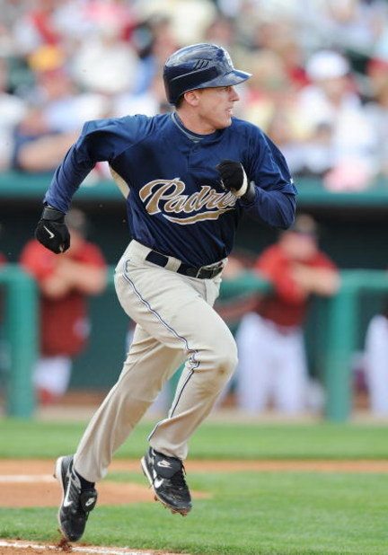 TUCSON, AZ - MARCH 09:   David Eckstein #3 of the San Diego Padres runs to first base during a Spring Training game against the Arizona Diamondbacks at Tucson Electric Park on March 9, 2009 in Tucson, Arizona.  (Photo by Lisa Blumenfeld/Getty Images)